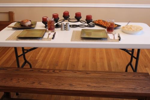 Remember? We sold our nice dining room table before we moved.
