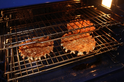 In the oven to keep them crisp.