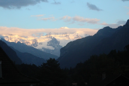 A view of Jungfrau from our balcony...Swiss perfection.
