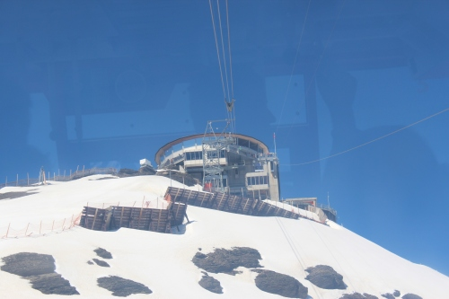 Piz Gloria on top of Shilthorn, as viewed from our cable car.
